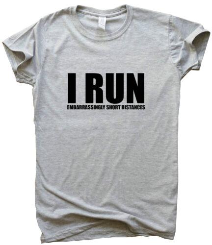 I RUN funny running T shirts women men top slogan training her him gym gift tee