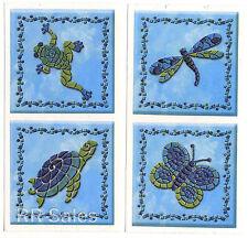 Dragonfly Turtle Blue Confetti Tile Cover Decal Bathroom Mosaic Sticker IdeaStix