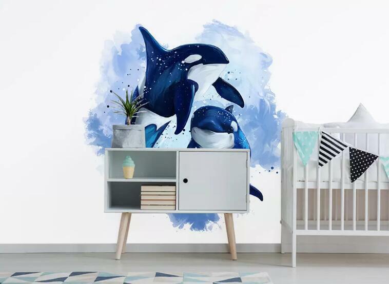 3D Blauer Delphin M2318 Tapete Wandbild Selbstklebend Abnehmbare Aufkleber Amy