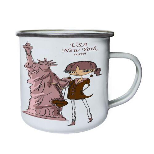 USA New York voyage statue de la Liberté Rétro Tasse x948e étain environ 283.49 g émail 10 oz