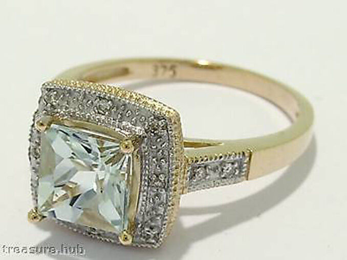 R102 Genuine 9ct gold NATURAL Princess-cut Aquamarine & Diamond ENGAGEMENT Ring