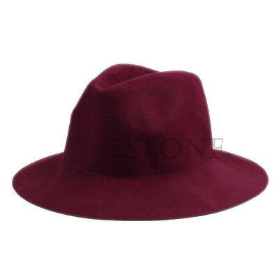Vintage Ladies Women Wide Brim Wool Felt Hat Floppy Bowler Fedora Cap