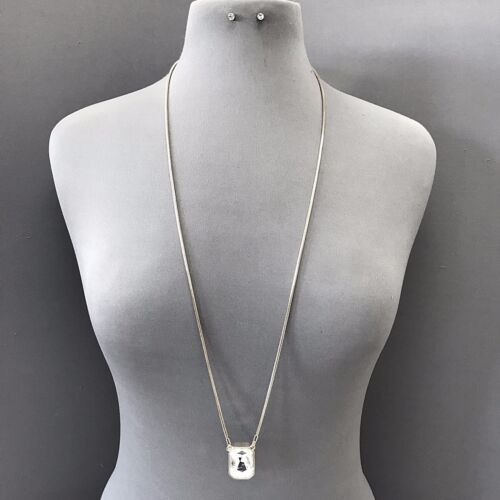 Classic Bohemian Long Silver Chain Clear Rhinestone Necklace with Stud Earrings