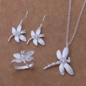 Beautiful-CUTE-women-lady-Silver-fashion-Dragonfly-Necklace-Ring-Earring-Set