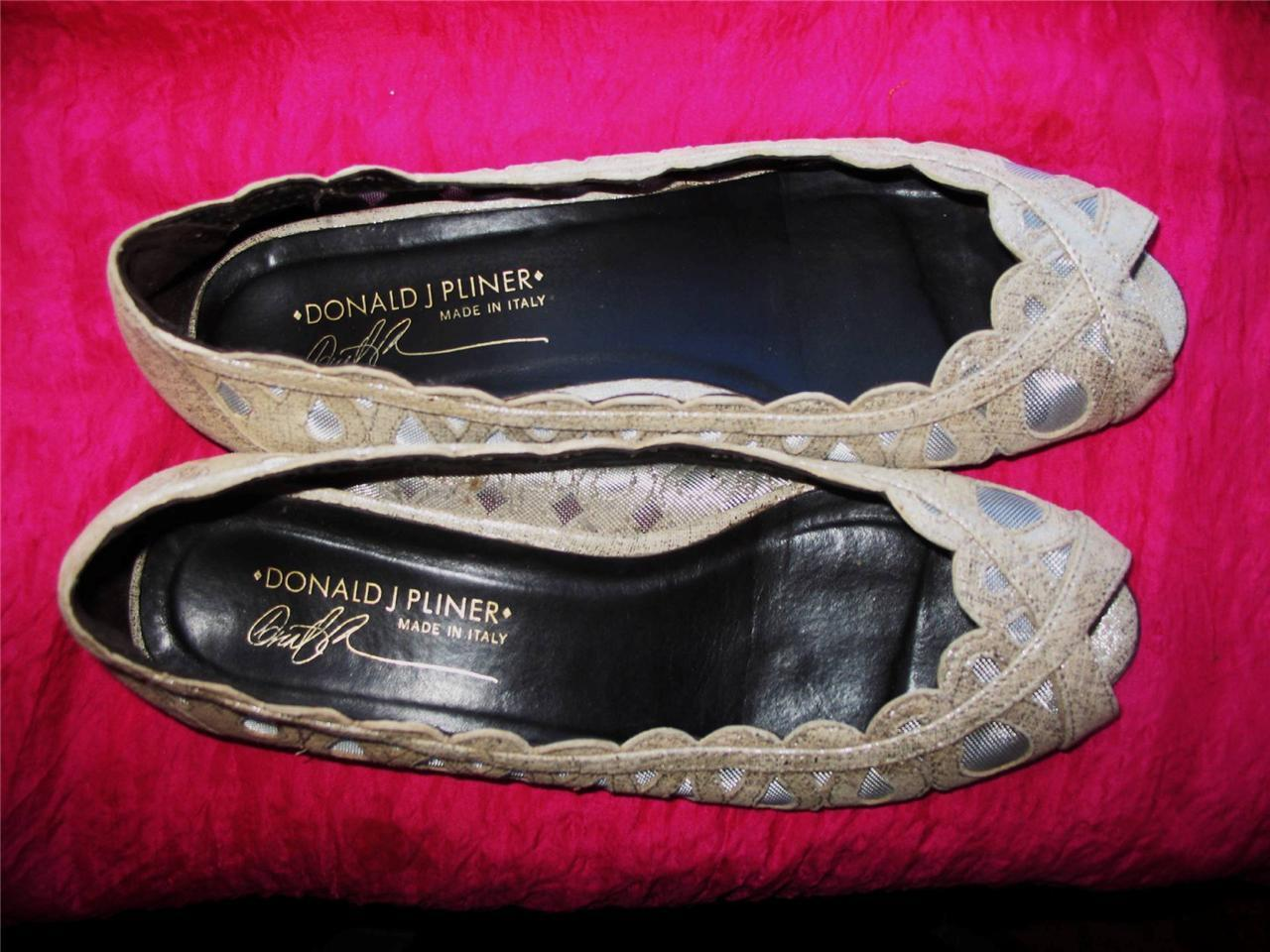 DONALD J PLINER  Schuhe ELAMA SILVER  PLINER BALLET FLAT  SIZE 6,5 M/37  MADE IN ITALY 187c9c