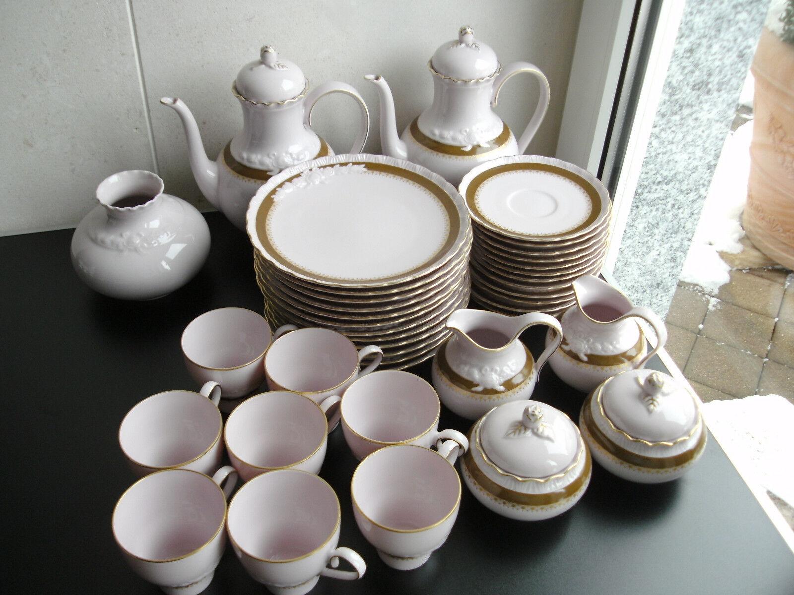 Hutschenreuther Kaffeeservice Porcelaine rosé 39 Teile