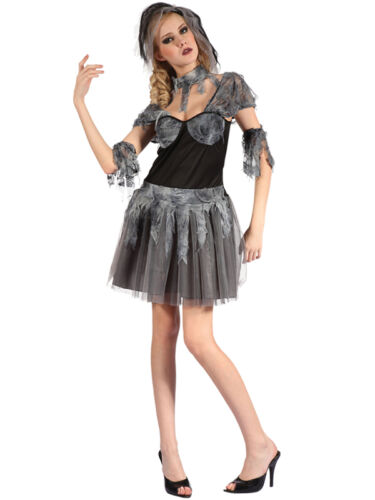 Onorevoli gotico sposa fantasma Costume Cadavere Halloween Zombie Wedding Costume