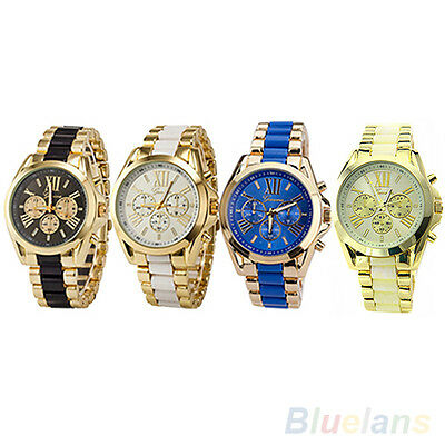 Mens Chic Trendy Geneva Stainless Steel Roman Numerals Quartz Analog Wrist Watch
