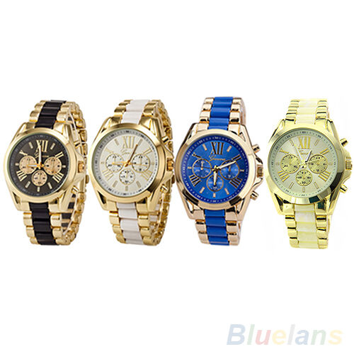 Mens Hot Fashion Geneva Stainless Steel Roman Numerals Quartz Analog Wrist Watch