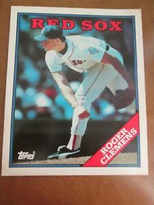 Details About 1988 Topps Roger Clemens Baseball Card 2 Page Folder 70 Boston Red Sox