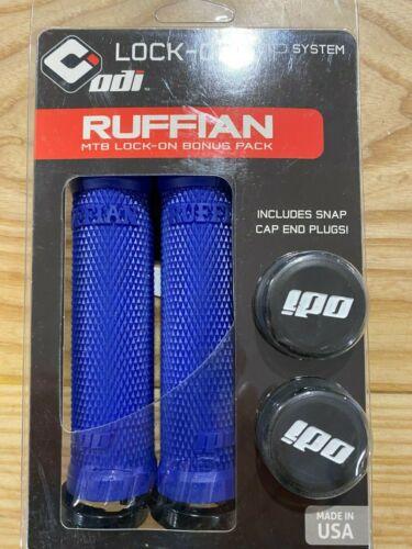 ODI RUFFIAN MTB LOCK-ON GRIPS BONUS PACK W//SNAP CAP END PLUGS BLUE//BLACK 130MM