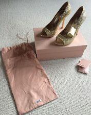 Miu Miu Gold Glitter Open Toe Shoes Size 6 Eu 39