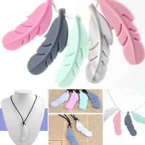 Silicone Teething Leaf Pendant Necklace Feather Sensory Chew Teether Baby Toys