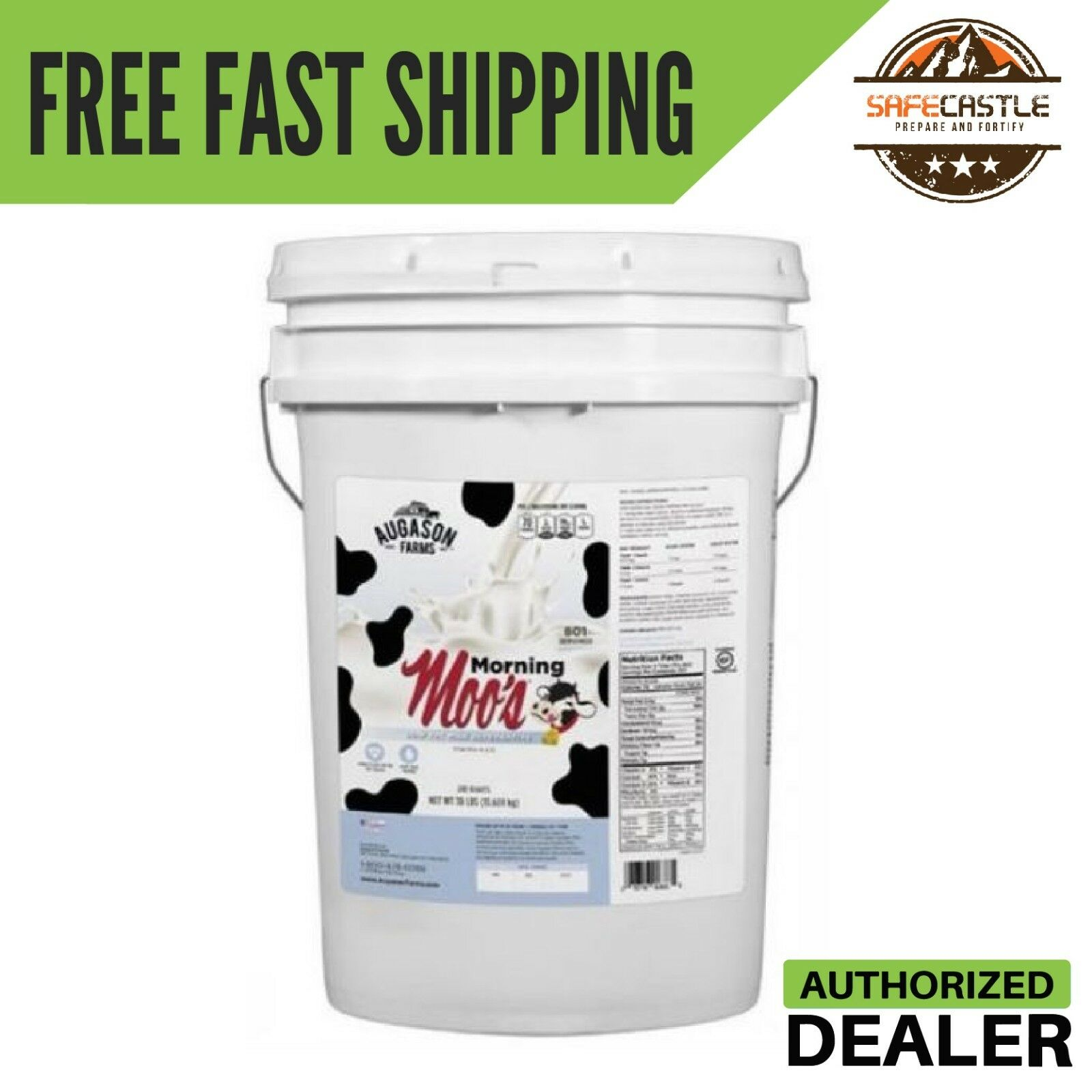 Augason Farm Morning Moo's Low Fat Milk Alternative  6 gallon pail with handle