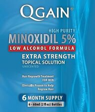 Qgain MINOXIDIL 5% Low Alcohol Formula 6 Month Supply Free Shipping Worldwide