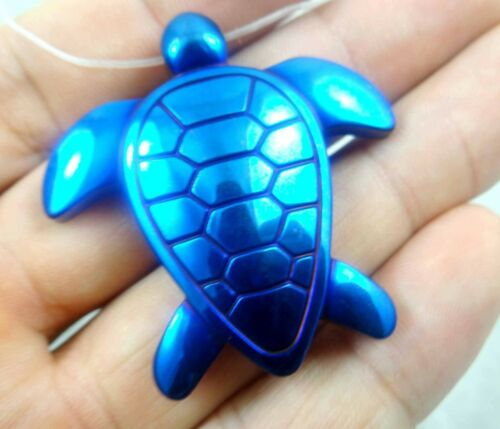 Titanium Hematite hand-Carved tortoise Gemstone pendant necklace C2