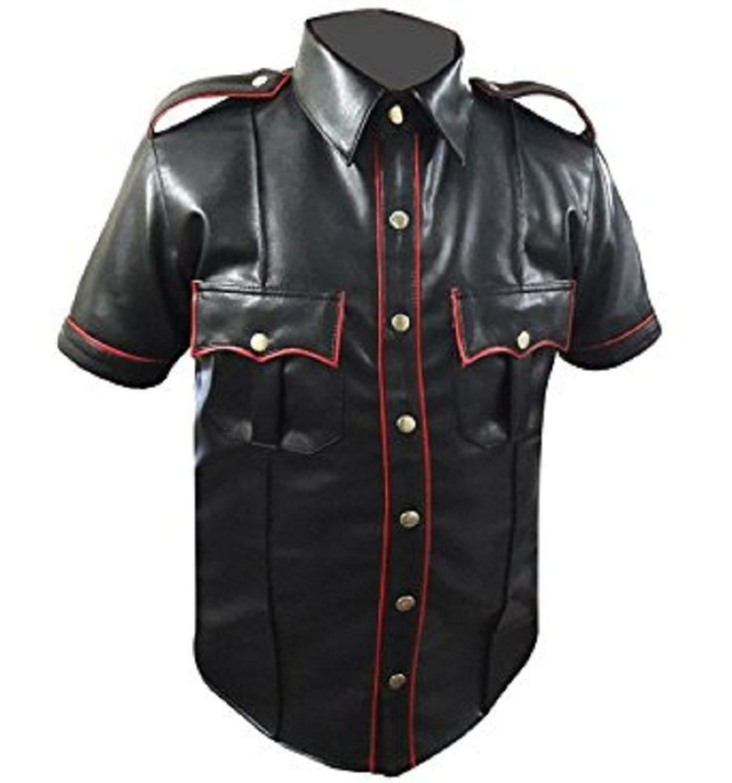 Para hombres Genuino Real uniforme de  policía de Cuero Negro Estilo Camisa BNWT  Compra calidad 100% autentica