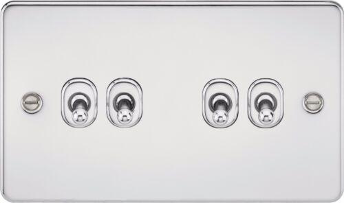 Knightsbridge plaque plane 10A 10 amp 4G 4 gang 2 way toggle lampe commutateur