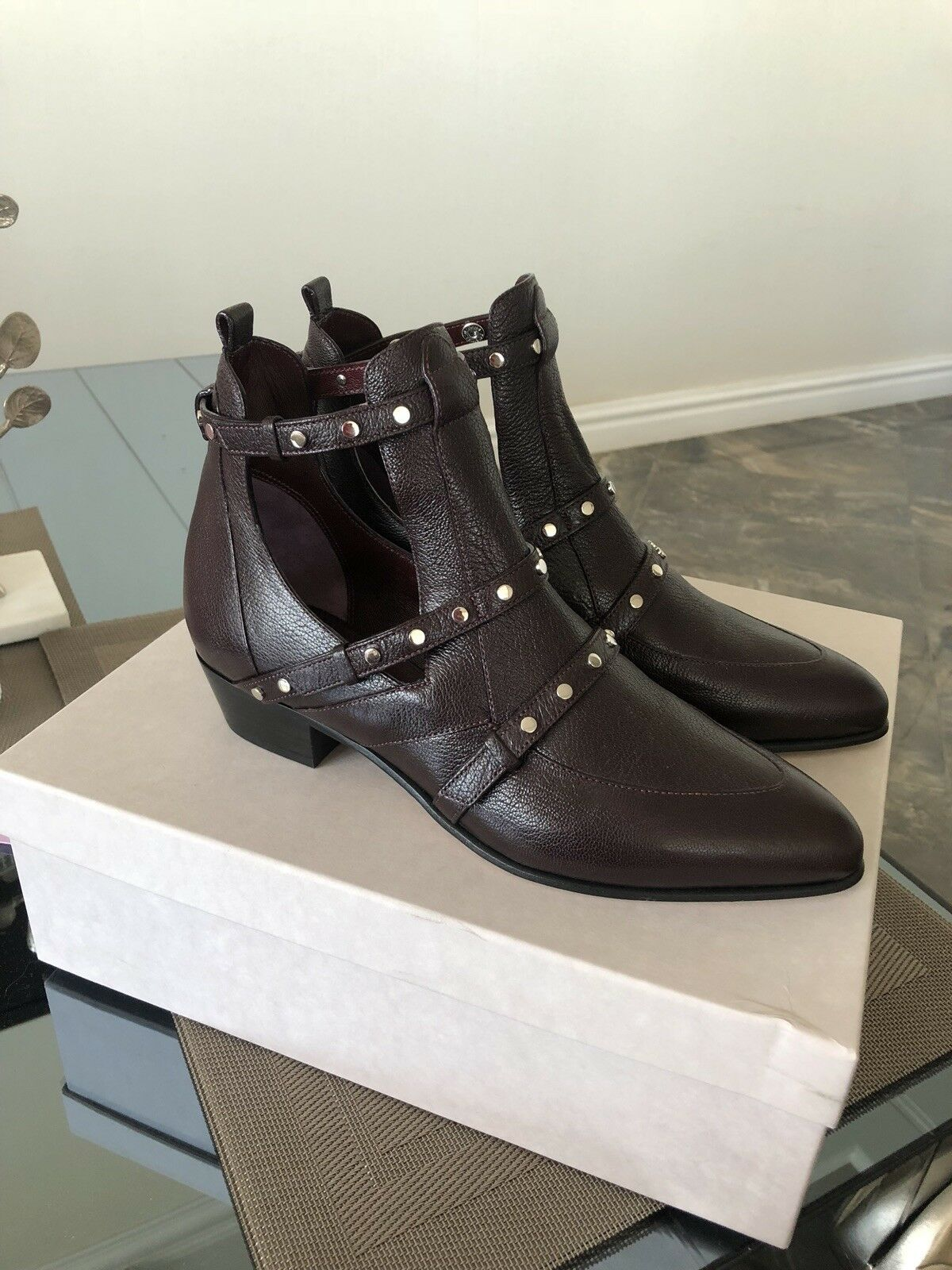 NIB JIMMY CHOO HARLEY LEATHER BOOTS SZ38 VINO COLOR