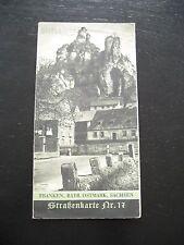 alte SHELL Straßenkarte Nr.17 Franken Bayern Ostmark Sachsen 30er Jahren Pilsen