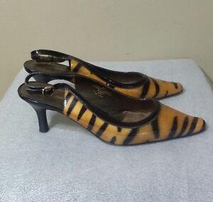 db7c6a3ea Details about Liz CLaiborne Bea Leather Women's Slingback Heel Animal Print  Shoes 8,5 M
