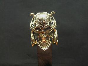 Bikerring, Totenkopf-Ring, 24 Karat Vergoldet, Dämon, Skull, Edelstahl Ring