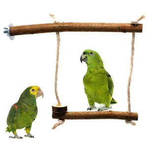 PETS-BIRD-PARROT-WOODEN-STAND-PERCH-COTTON-ROPE-HANGING-CAGE-SWING-CHEW-TOY-CHEE
