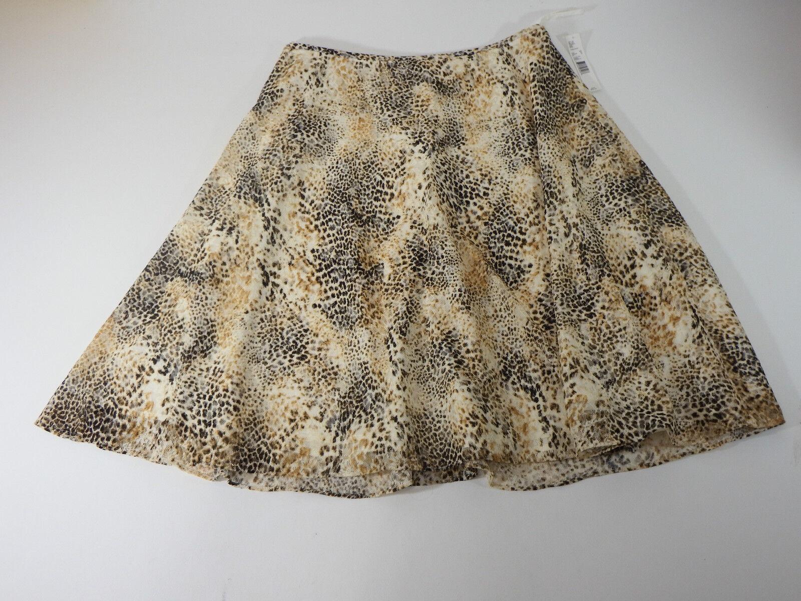 Womens Skirts Preston & York Casual Animal Print Brown Zipper Size 12
