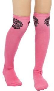 8cf2f741e 78536 Pink   Black Sugar Skull Muerte Thigh High Socks Sourpuss ...