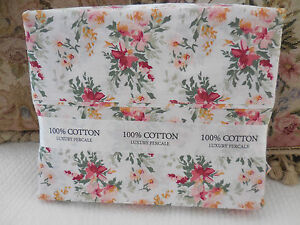 Casual-Elegance-Sweet-PINK-roses-Floral-FULL-sheet-set-French-Cottage-Chic