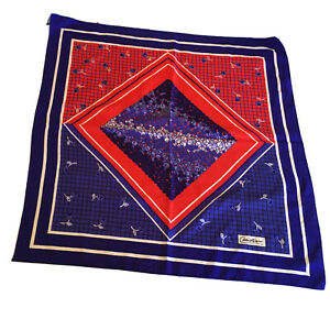 Vtg-Christian-Square-Fashion-Scarf-32-034-Red-White-Blue-Print-Made-in-Italy
