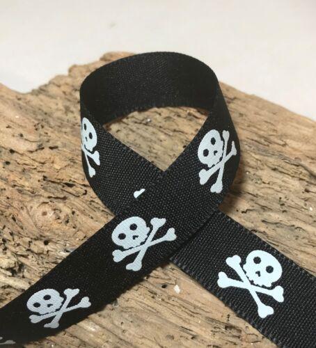 Black /& White or Orange /& Black 1m 3m Skull /& Crossbones 15mm Pirate Ribbon