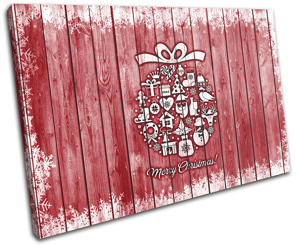 Christmas Decoration Wall Canvas ART Print XMAS Picture Gift Wood 02 rot Christm