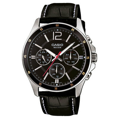 Casio MTP-1374L-1 Original Analog Leather Mens Watch Water Resistant MTP-1374L