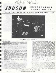 Judson-Supercharger-Model-MG-26-Service-data