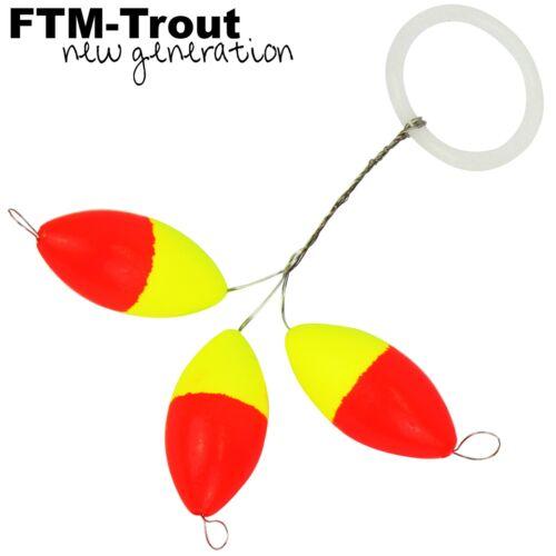 Bissanzeiger zum Forellenangeln FTM Trout Piloten oval orange//gelb 3 Pilotposen