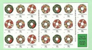 Sc-3252c-32-cent-Christmas-Wreath-Issue-Booklet-of-20-ei13