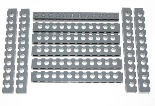 LEGO LOT OF 10 NEW 1 X 12 DOT DARK BLUISH GREY BRICKS PIECES