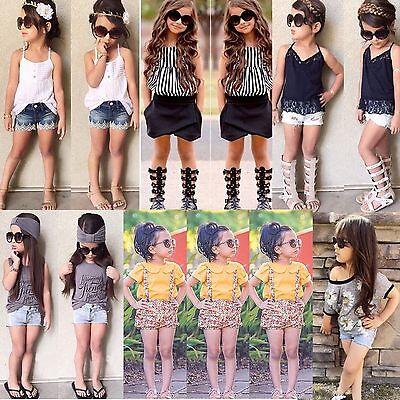 2PCS Toddler Kids Baby Girl Summer Clothes T-shirt Tops+Pants/Shorts Set Outfits