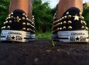 Converse Nere all star Basse personalizzate con borchie Oro Stud Gold Star Clean