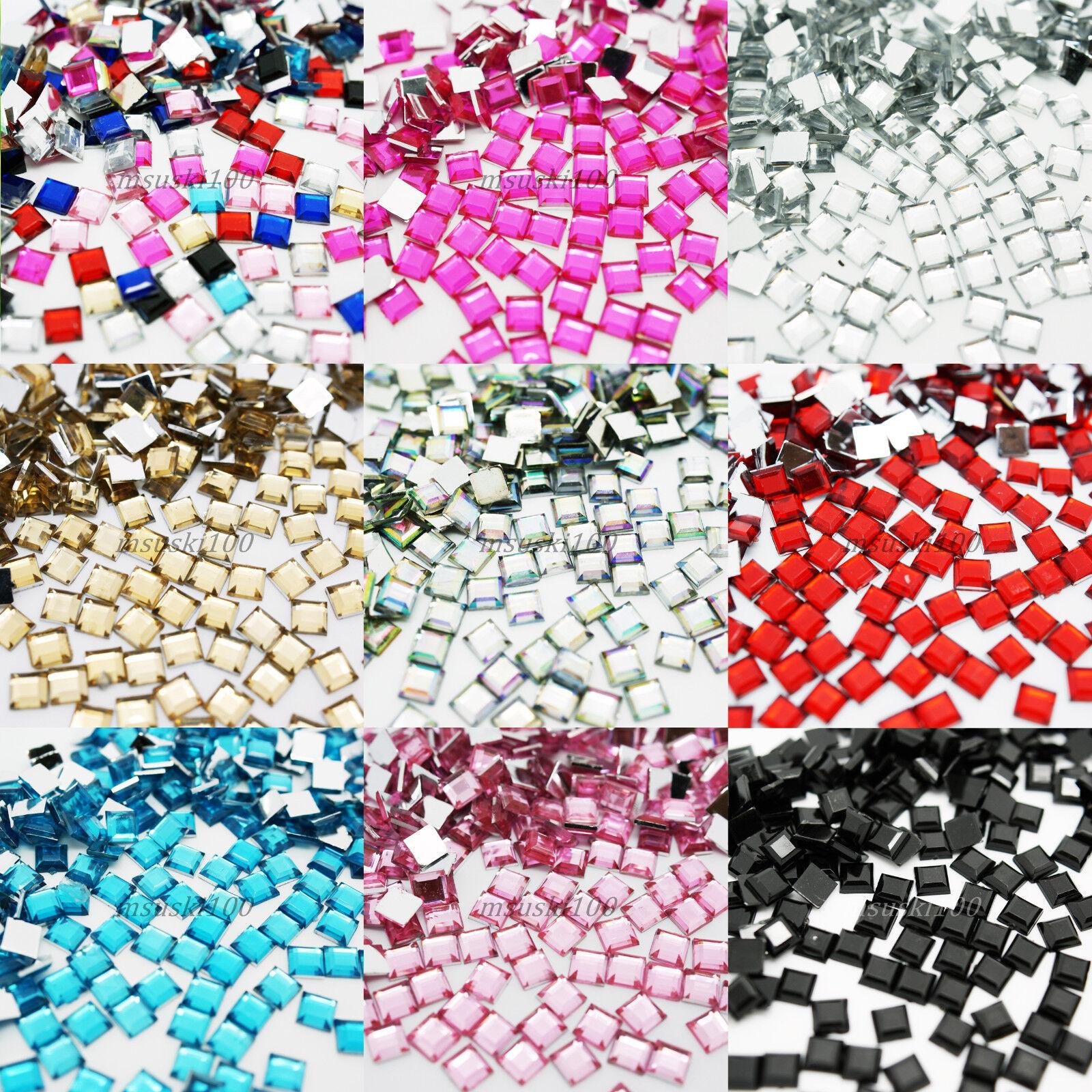1000 SQUARE Rhinestones Acrylic Gem Flat back 3d nail art craft bling decoration