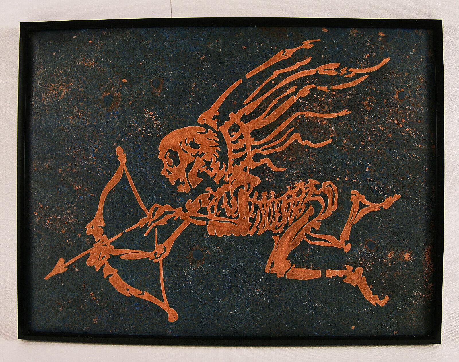 Skeleton Cupid Eros Gift Metal Wand Kunst Drucken Poster Kunstwork Home Decor
