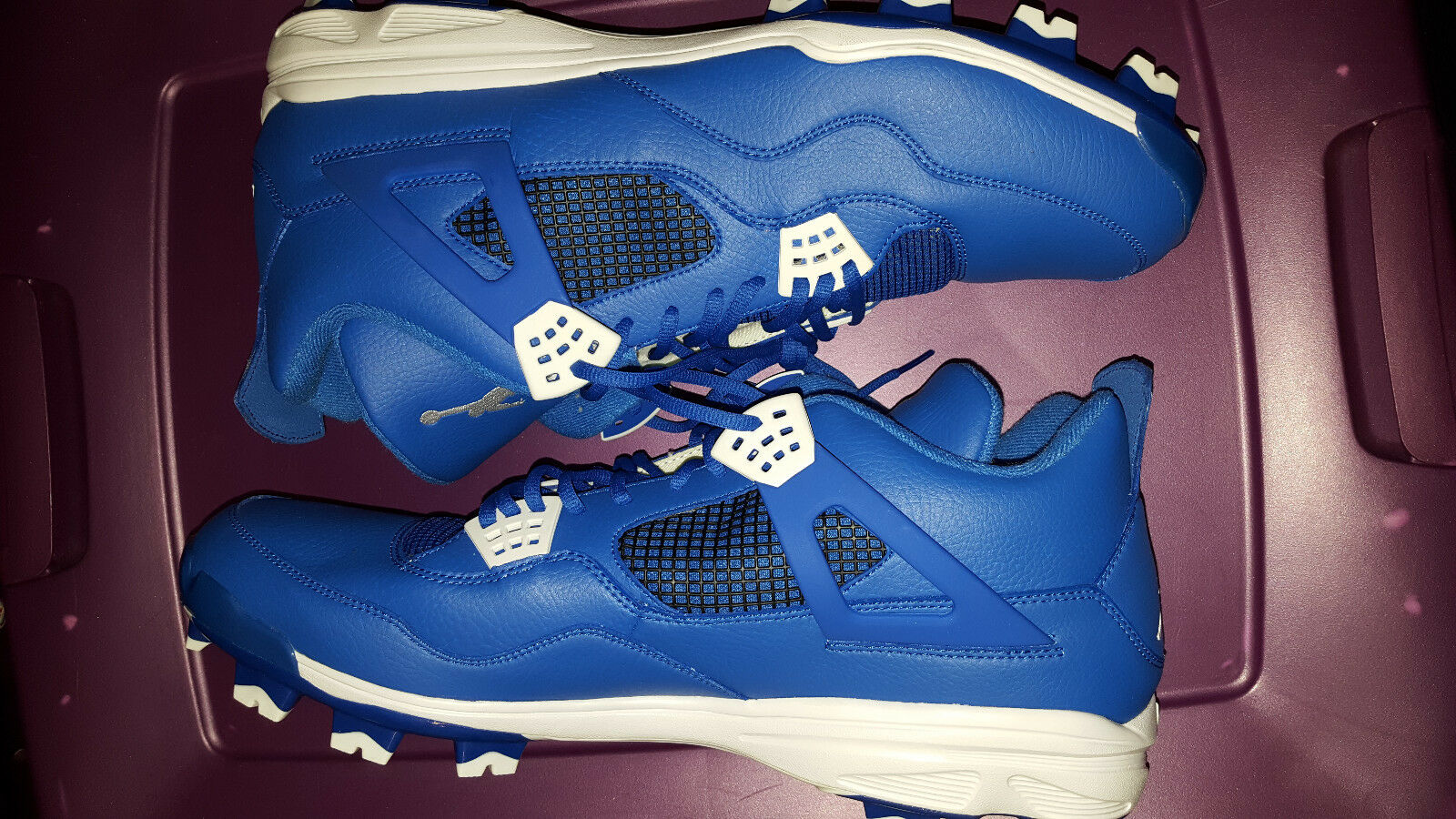 Nike Air Jordan Retro IV 4 MCS Men Baseball Cleats Size 16 807709-401 Royal Blue