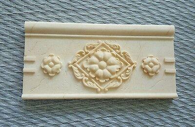 New Decorative Listello Composite Tile Border Feature Off White Basket weave
