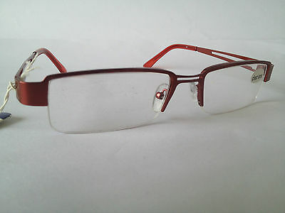 Reading Glasses clear lens with red metal frame 53208