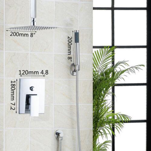 Chrome LED 8 Inch Square Rainfall Bathroom Shower Head Hand Sprayer Mixer Faucet