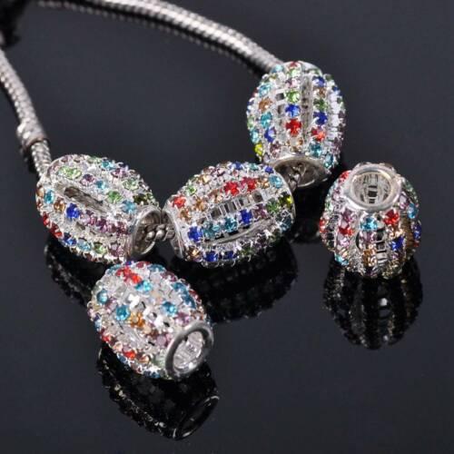 5pcs 16x18mm Crystal Rhinestone Pave Loose Metal Big Hole Beads Jewelry Findings