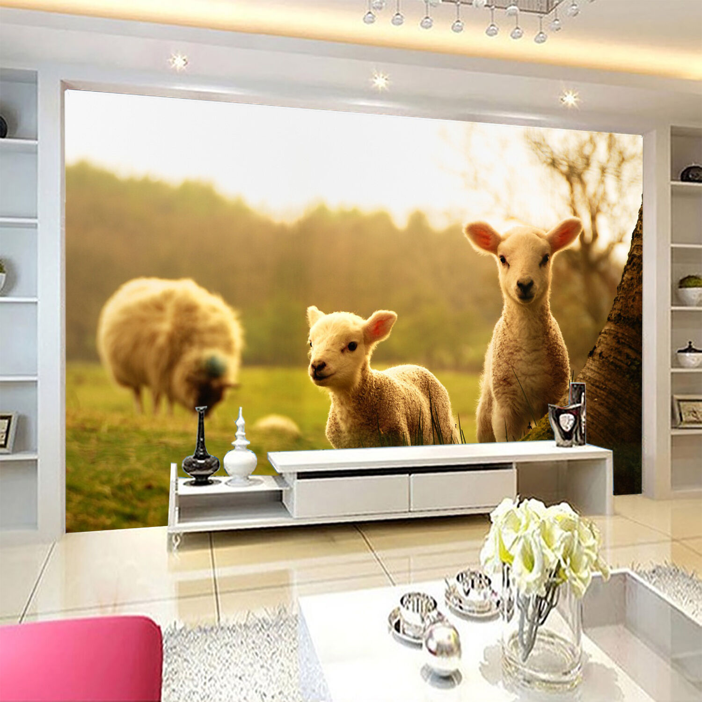 3D Grassland Lambs Wall Paper wall Print Decal Wall Deco Indoor wall Mural