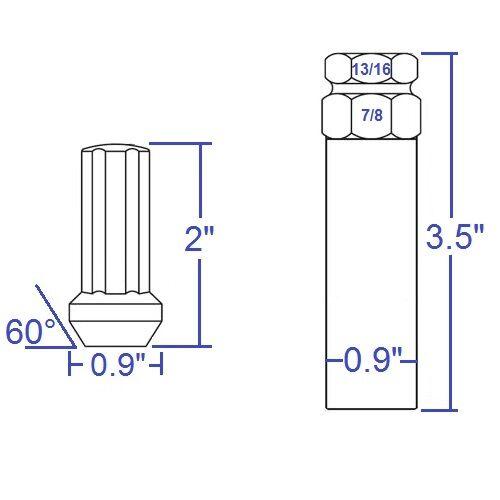 "24 Spline Lug Nuts with Key M14x1.5 Blue 2/"" TALL CHEVY SILVERADO GMC JEEP RAM"
