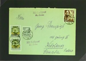 Germany-1954-DDR-Cover-to-Canada-Top-Cnr-Stamp-Damaged-Z2814
